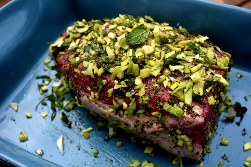 Herb crusted eye of round roast is tender inside and packed with a flavorful crust outside