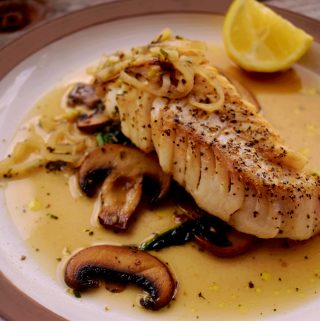 Roasted Cod with spinach and mushrooms