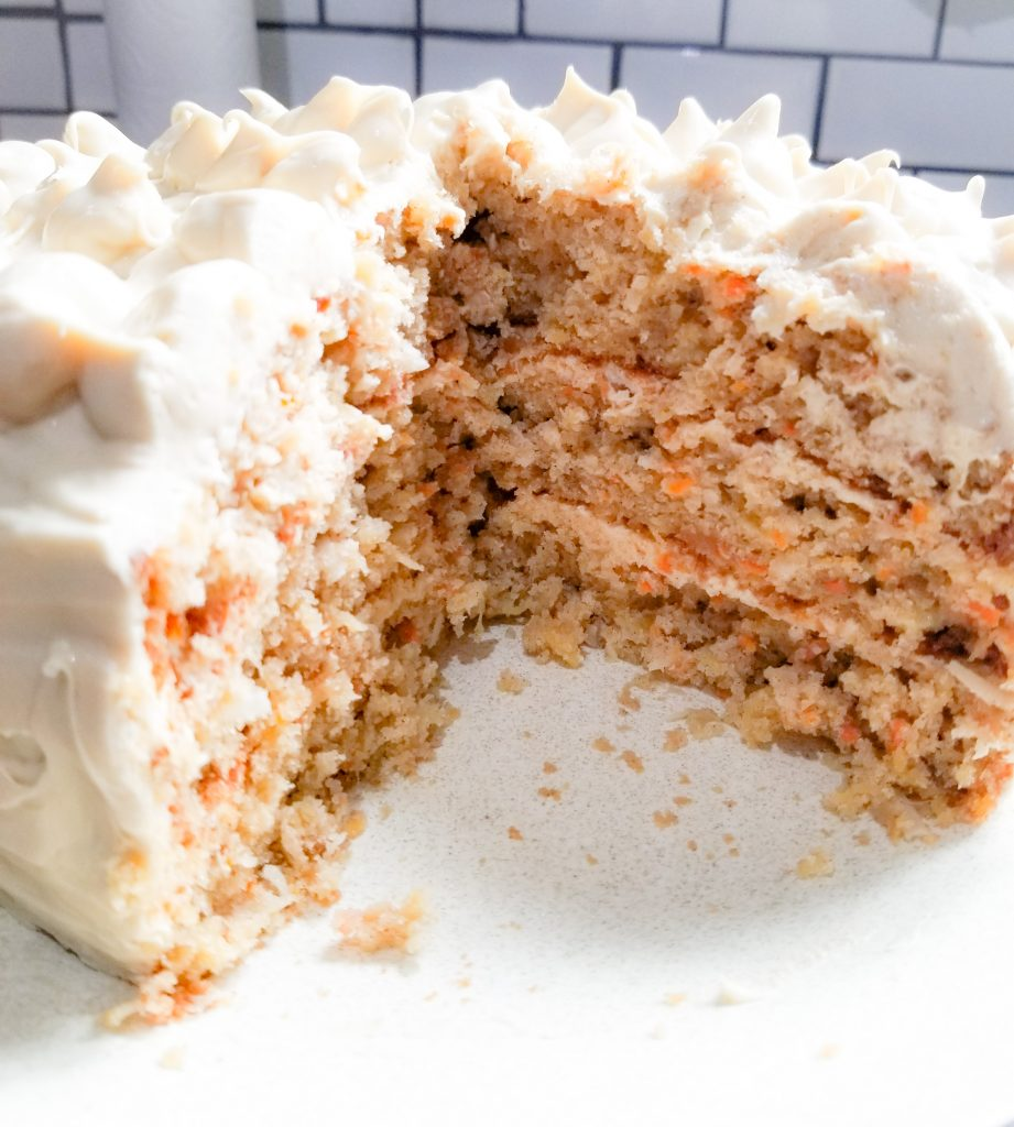 Tired of dry carrot cake? This Triple Layer Carrot Cake is packed with moisture from crushed pineapple and coconut milk.