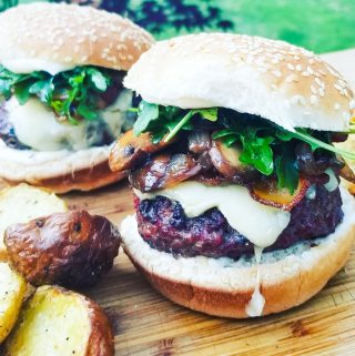 Local to Seattle, Beecher's white cheddar is the perfect pairing for this mushroom burger with arugula and garlic aioli.