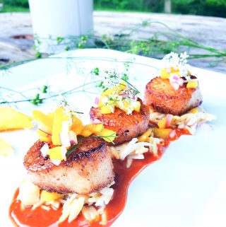 Seared scallops with Guajillo Mango Sauce