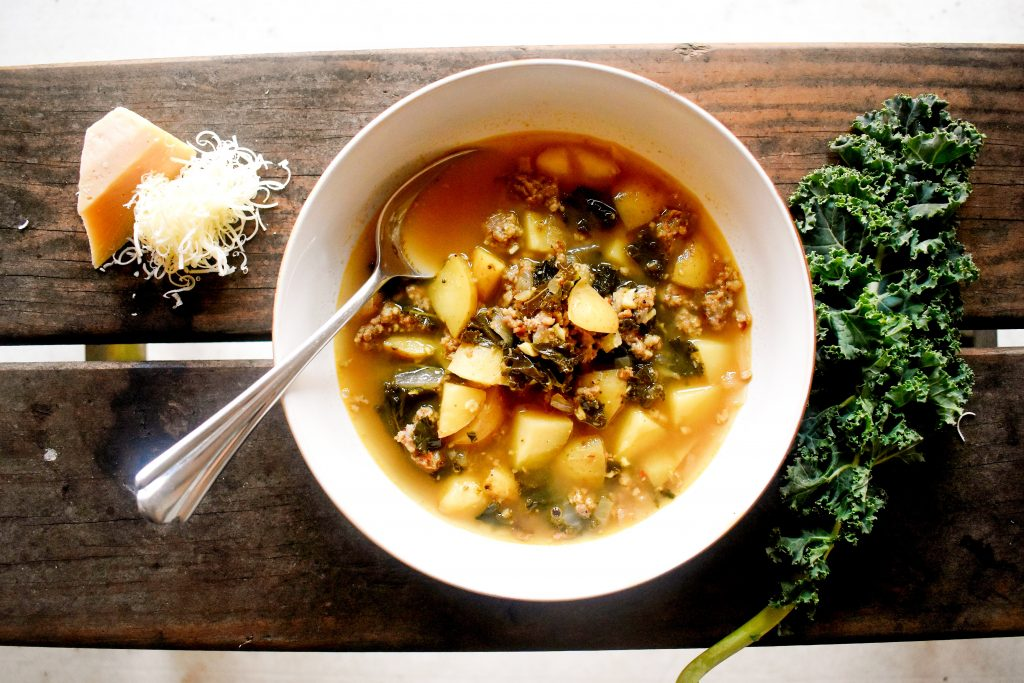 Portuguese green soup, Caldo Verde, delivers soul warming goodness with simple ingredients of potato, spicy sausage and kale.  This broth based soup is perfect for the first crisp days of fall.