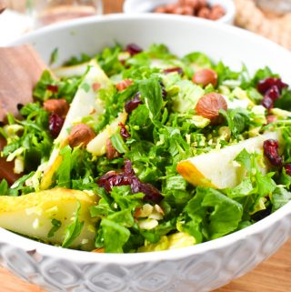 Crunchy Oregon hazelnuts, sweet Washington cranberries and Beecher's Flagship cheese tossed together with pear, Brussels spouts and kale.