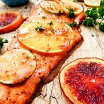 A variety of citrus, stone ground mustard, brown sugar and a pinch of cayenne create a sweet and spicy glaze for sockeye salmon