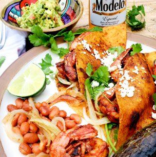 Earthy spice coated Shrimp Adobo Tacos