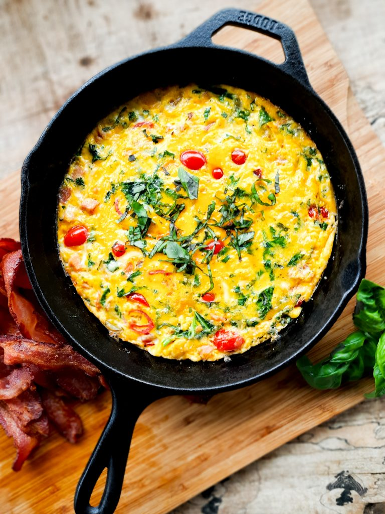 Farmer's Market Frittata with seasonal vegetables, eggs and cheese