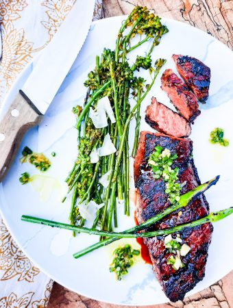 Tender short rib steak with balsamic glaze, quickly grilled and topped with leek scape butter