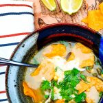 Flavorful broth based Poblano Corn Tortilla Soup with cilantro, lime and Queso Oaxaca