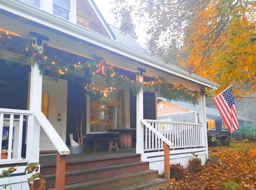 Use extra cedar boughs to make a garland for your porch