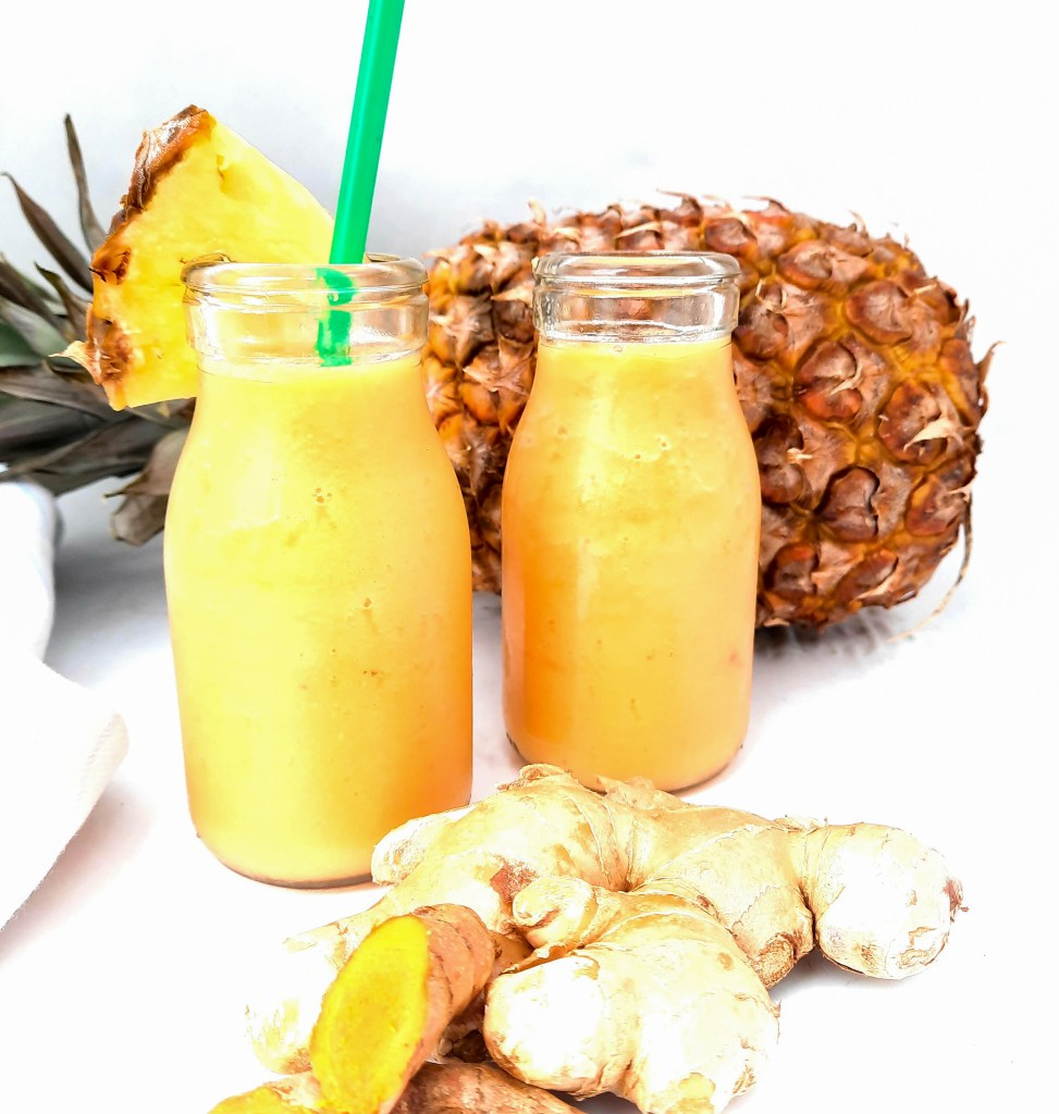 Tropical Tumeric Ginger Smoothie combines anti-inflammatory curcumin compounds with pineapple and guava to make a delicious drinkable breakfast to start your day the healthy way.