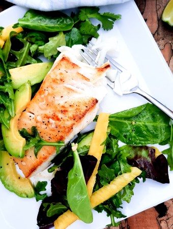 Light and refreshing Avocado Pineapple Salad with Halibut takes Summer into full swing and simplifies your weeknight dinner.