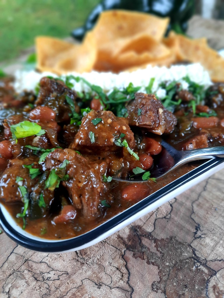 Out West Cowboy Steak Chili combines tender steak, pinto beans and poblano chili peppers for a hearty meal with a subtle campfire cooked taste.